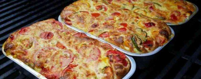 Заливний пиріг з овочами